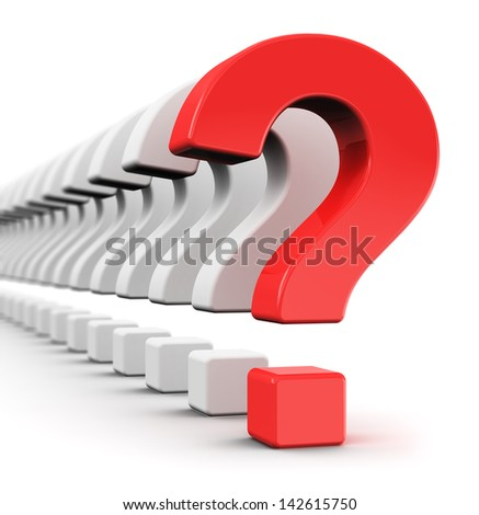 Creative business strategy, risk, motivation and success concept: red question symbol within a row of white signs isolated on white background with selective focus effect - stock photo