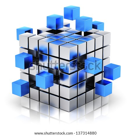 Creative business teamwork, internet and communication concept: metal cubic structure with assembling blue metallic cubes isolated on white background with reflection effect - stock photo