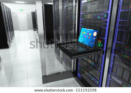 Creative business web telecommunication, internet technology connection, cloud computing and networking connectivity concept: terminal monitor in server room with server racks in datacenter interior - stock photo