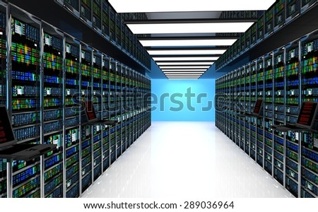 Creative business web telecommunication, internet technology connection, cloud computing and networking connectivity concept: terminal monitor in server room with server racks in datacenter  - stock photo