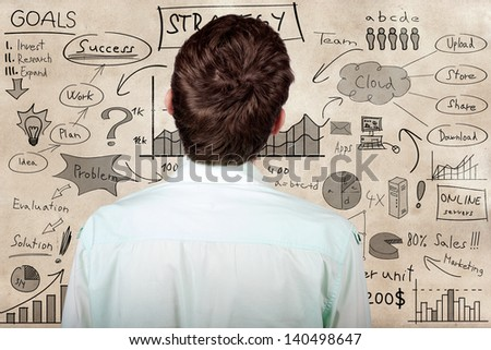 Creative businessman looking to develop innovative business plan when looking to hand drawn marketing illustration on a texture wall
