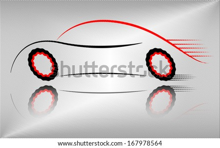 Creative car outline illustration, raster version. Outline design of a sport vehicle in motion. Abstract black and red colored auto design on metallic background.  - stock photo