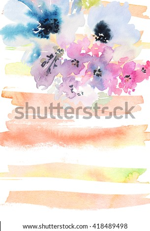 Creative card with watercolor flowers. Abstract background. - stock photo