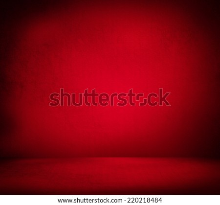 Creative Christmas background. Inside an empty red room - stock photo