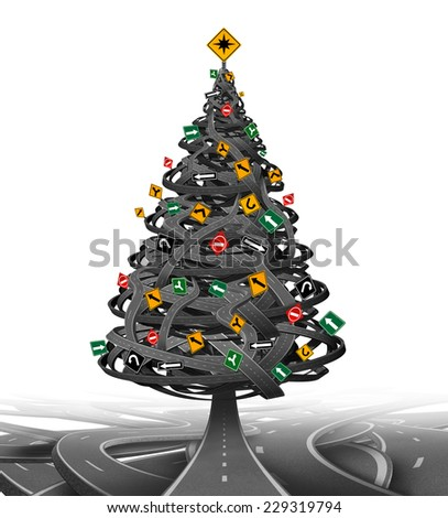 Creative Christmas tree made from a group of tangled roads and highways with traffic signs as decoration ornaments as a symbol for the stress of the holiday season or winter driving. - stock photo
