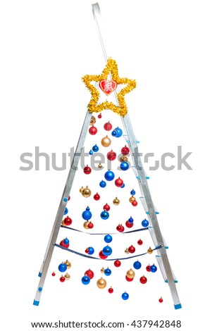 Creative Christmas tree - stepladder with hanging balls isolated - stock photo