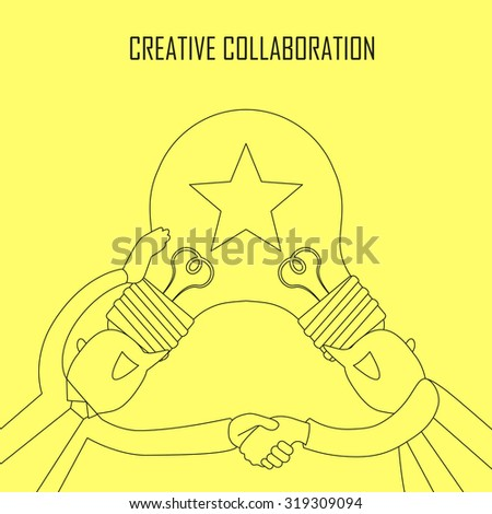 creative collaboration concept: idea bulb on two businessman's head in line style - stock photo