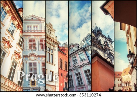 Creative collage view of the Prague architectural monuments with vertical photo. Instagram tonic effect.