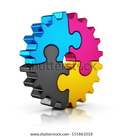 Creative color printing computer technology, typography, press and publishing abstract concept: colorful CMYK puzzle jigsaw gear isolated on white background with reflection effect - stock photo