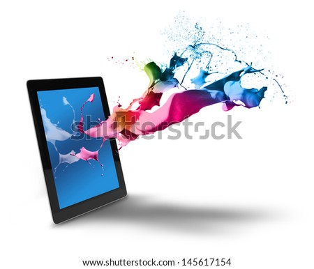 Creative color splash from tablet computer display - stock photo