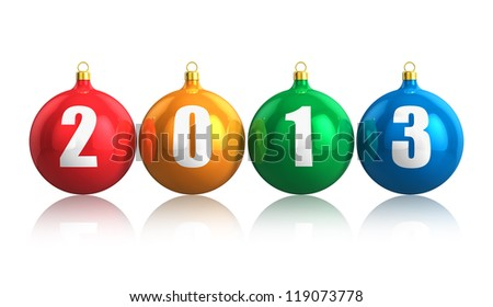 Creative colorful New Year 2013 concept with glossy metallic color Christmas balls isolated on white background with reflection effect - stock photo