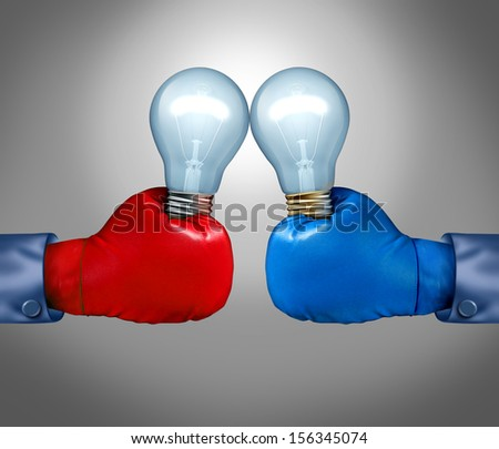 Creative competition as a business concept with two businessmen fighting with red and blue boxing gloves holding a light bulb as a fight metaphor for ideas innovation and creativity with risk. - stock photo