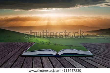 Creative composite image of Summer landscape in pages of magic book - stock photo