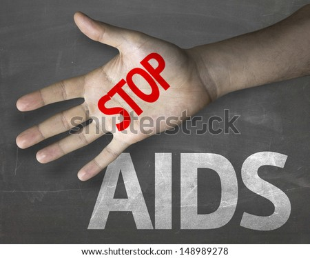 Creative composition with the message Stop Aids - stock photo