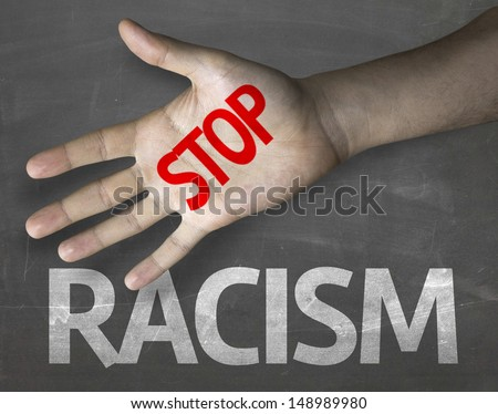 Creative composition with the message Stop Racism - stock photo