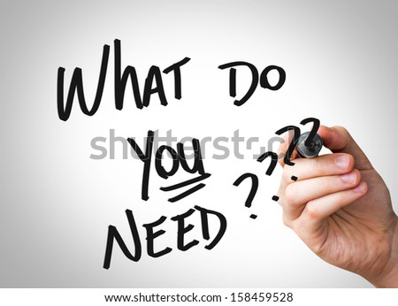 "Creative composition with the message ""What Do You Need"" - stock photo"