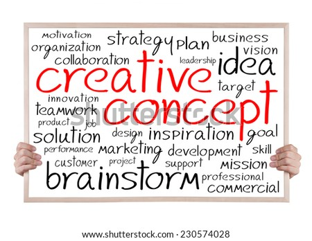 creative concept and other related words handwritten on whiteboard with hands - stock photo
