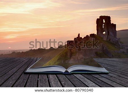Creative concept image of romantic fairytale castle ruins coming out of pages in magical book - stock photo