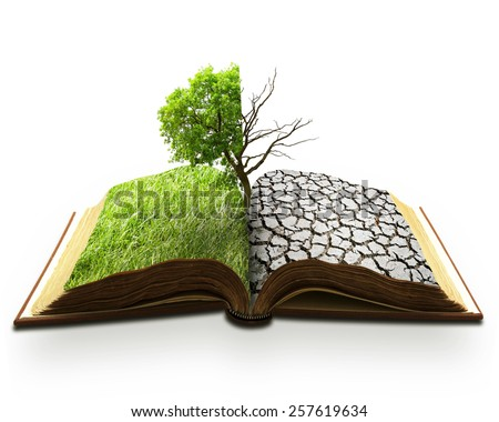 creative concept landscape image of global warming, natural weather disaster problem  - stock photo