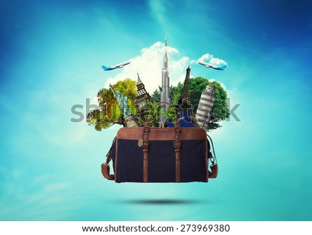 creative concept of a bag full of famous monument with passport. traveling design - stock photo