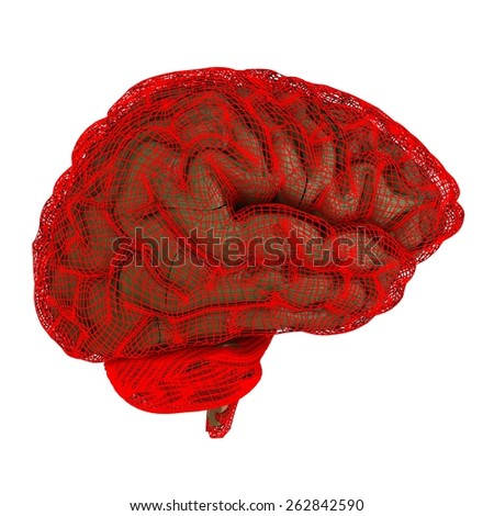 Creative concept of the human brain. The film strip - stock photo