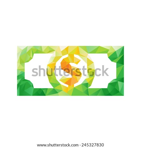Creative concept of the money, dollar bill, coin consists of colorful polygons - stock photo