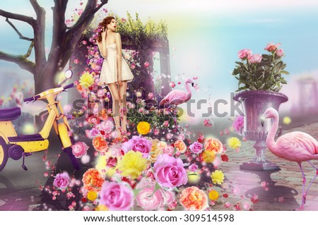 Creative Concept. Visual Arts. Woman and Flowers - stock photo