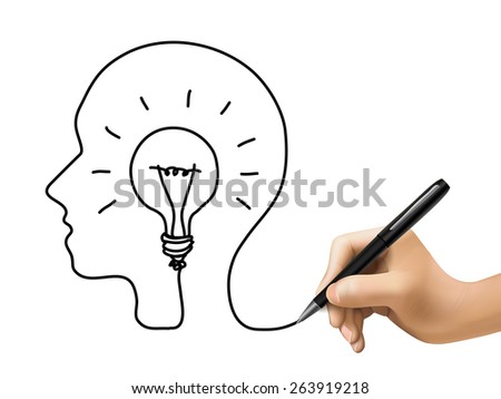 creative concept with a bulb inside human brain drawn by 3d hand - stock photo
