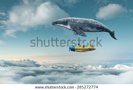 Creative consept of two girls flying a plane: Take me to the dream - stock photo