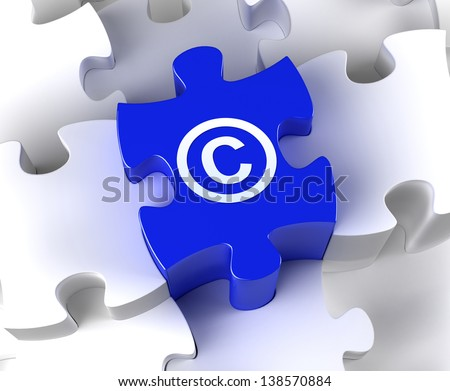 Creative 3D pieces of puzzle and copyright symbol - stock photo