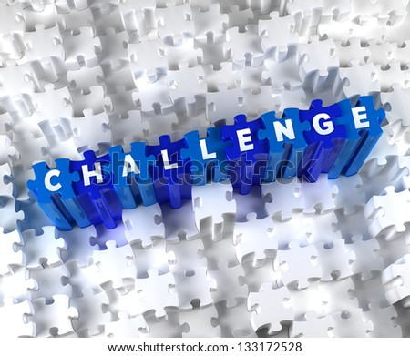 Creative 3D pieces of puzzle and word CHALLENGE - stock photo