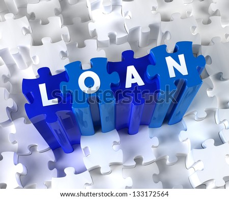 Creative 3D pieces of puzzle and word LOAN - stock photo