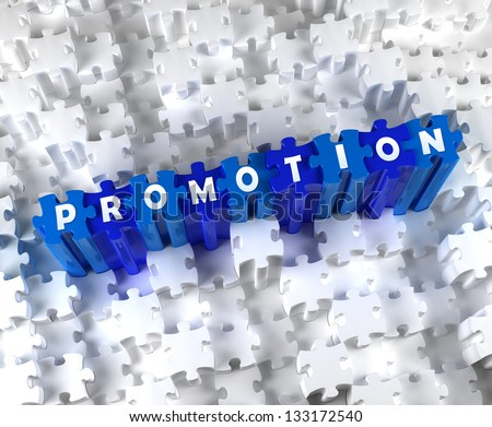 Creative 3D pieces of puzzle and word PROMOTION - stock photo