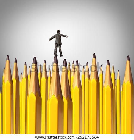 Creative decision risk concept as a person walking carefully through a background with a group of sharpened lead pencils as a symbol of the challenges of business planning. - stock photo