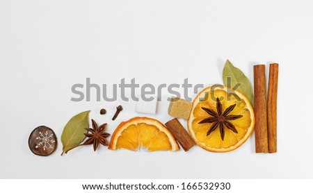 Creative decorative arrangement of mulled wine / punch / tea condiments - stock photo