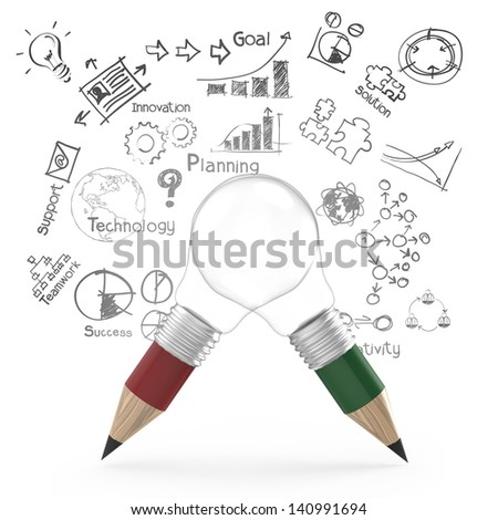 creative design business as pencil lightbulb 3d as business design concept - stock photo