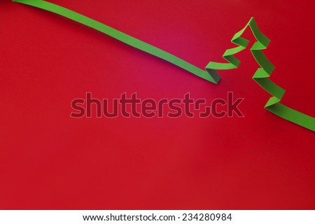 Creative design of christmas background with paper fir tree