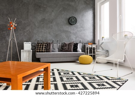 Creative Design Of Spacious Living Room With Black, White And Orange  Decorations Part 70