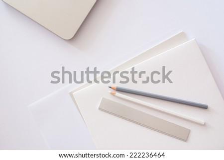 creative desktop - stock photo