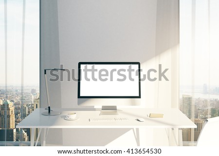 Creative desktop with blank white computer screen in sunlit office with windows and city view. Mock up, 3D Rendering - stock photo