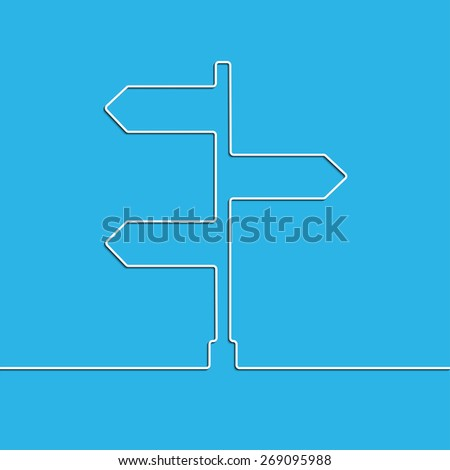 Creative direction arrow sign. The concept of choosing the direction of the road junction.  - stock photo