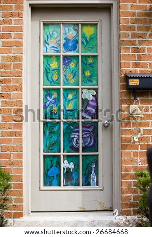 Creative door in the Short North in Columbus, Ohio - stock photo