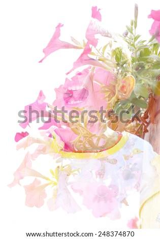 Creative double exposure portrait of little boy - stock photo