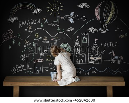 Creative Drawing Imagination Girl Blackboard Concept