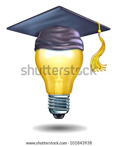 Creative education concept with a light bulb and a mortar cap or graduation hat as symbols of schools teaching artistic or creativity oriented studies to inspire new ideas and innovation in students. - stock photo