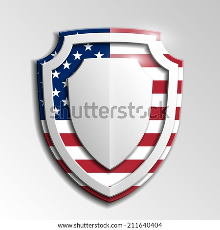 Creative empty shield USA Independence Day, Veterans Day - stock photo