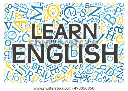 "creative english alphabet texture background with phrase ""Learn English"""