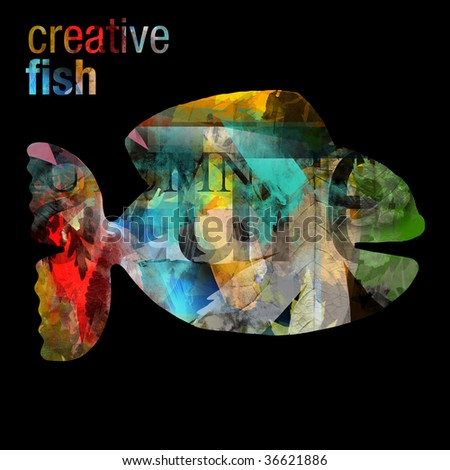 creative fish - artistic collage - stock photo