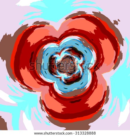 Creative flower fractal. Flat media pic. Warp space. Bend lines. Web site element. Cool art picture. Red colour symbol. Curved sci fi abstracts. Odd infinite spin. Floral deco. Many colors. Fluid. - stock photo