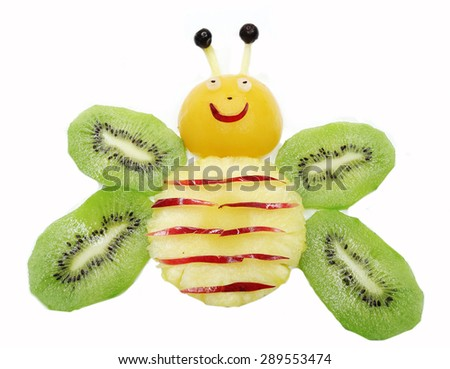 creative fruit dessert for child funny form bee - stock photo